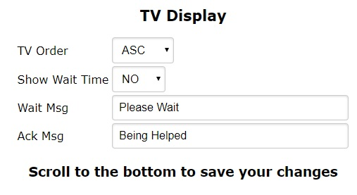 DSS Check In TV display settings